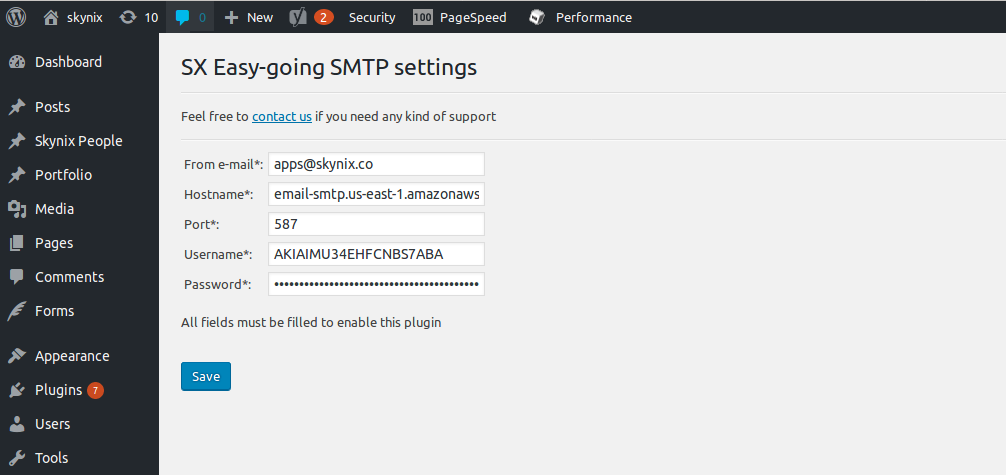 Easy-going emailing SMTP plugin settings