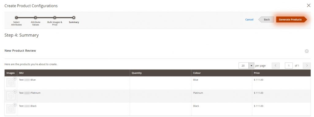 Create product configurations steps in Magento 2