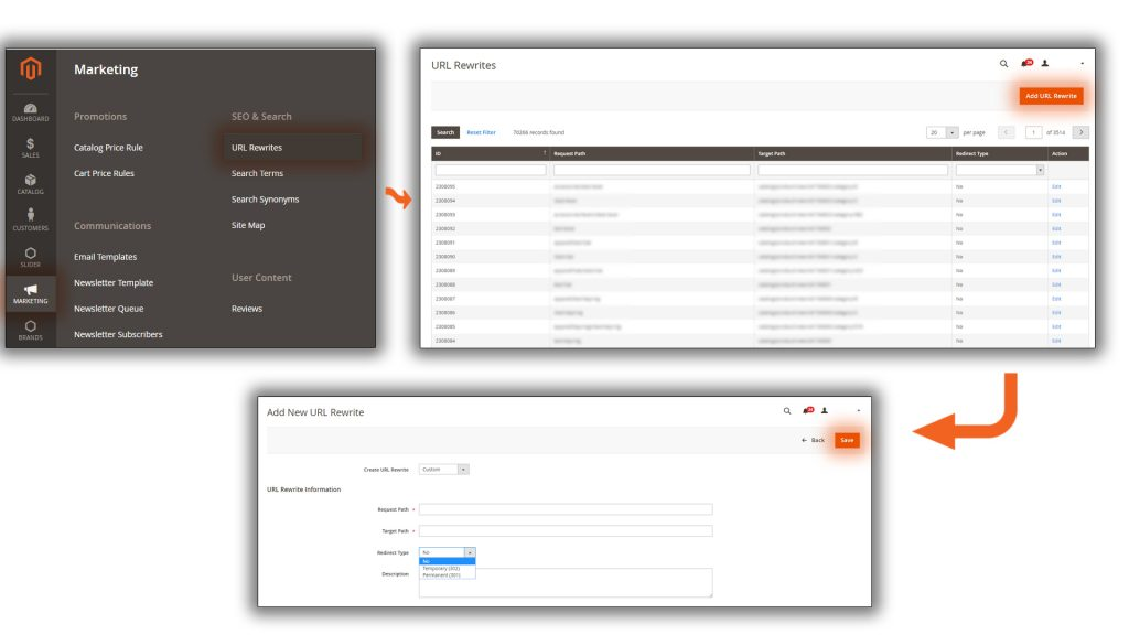 Magento 2 has a built-in tool for managing 301 and 302 redirects