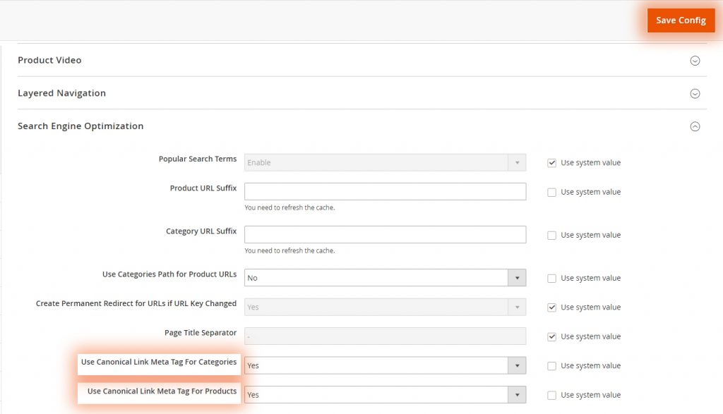 Setting canonical tag in Magento 2 admin panel