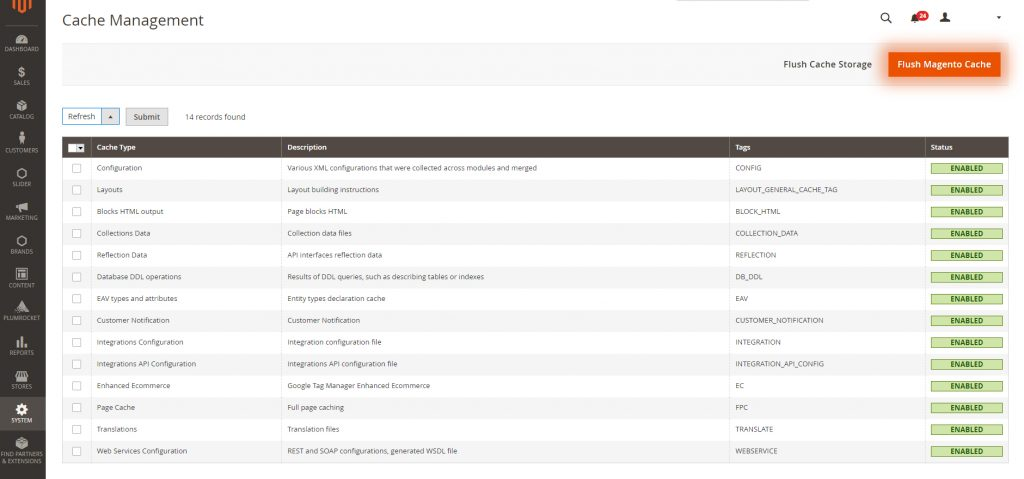 Cache management page in Magento 2 admin panel