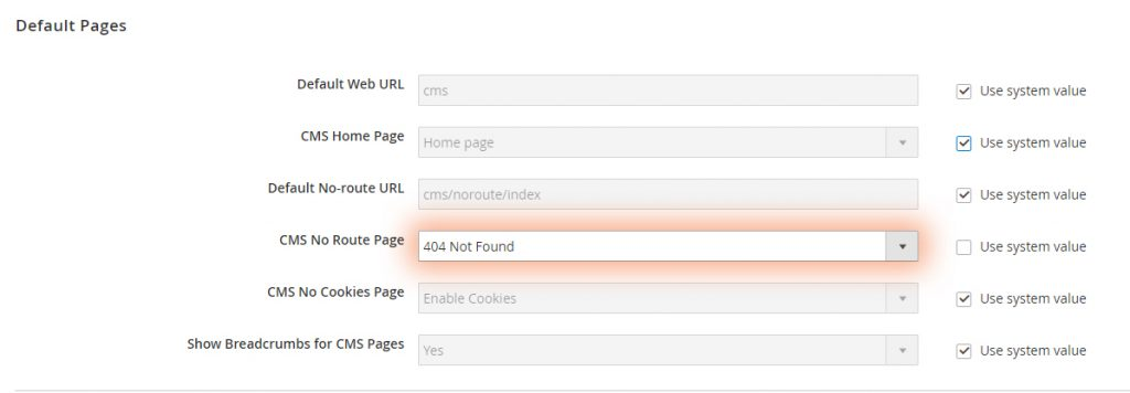 Magento 2 allows setting custom 404 page