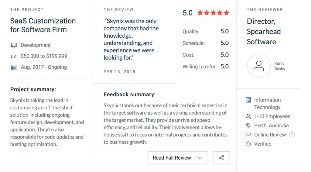 Skynix LLC Clutch reviews
